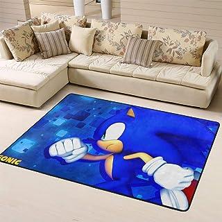 Zmacdk Sonic The Hedgehog - Alfombra antideslizante para dormitorio infantil (150 x 240 cm), Sonic Sonic The Hedgehog Sega...