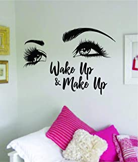Boop Decals Wake Up and Make Up V7 Wall Decal Sticker Vinyl Art Bedroom Living Room Decor Decoration Teen Girls Beauty Eyes Women Beautiful Lashes Eyelashes Brows Make Up Guru Lips Lipstick Sexy