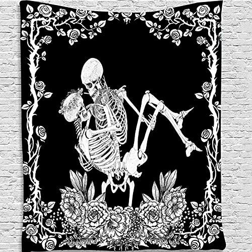 Tapiz de mandala psicodélico para colgar en la pared, patrón de astronauta de calavera, tapiz de arte hippie, tapiz psicodélico A2 180x200cm