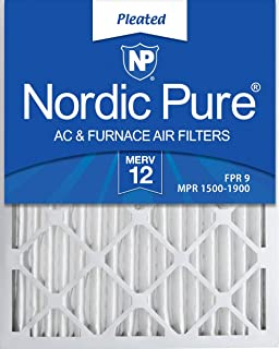 Nordic Pure 16x25x2 MERV 12 Pleated AC Furnace Air Filters 3 Pack, 3 PACK, 3 PACK