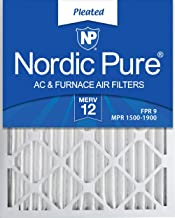Nordic Pure 20x25x2 MERV 12 Pleated AC Furnace Air Filters 3 Pack, 3 PACK, 3 PACK