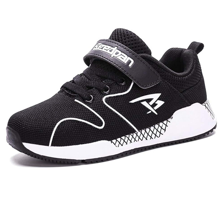 [GLYY] スニーカー キッズ 子供靴 軽量 運動靴 通園靴 男の子 女の子 カジュアル テニスシューズ 通気 防滑 旅行 黒 21.1 CM