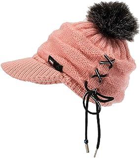 iTLOTL Men Women Winter Cap Solid Bandage Ear Protector Slouchy Hairball Hat