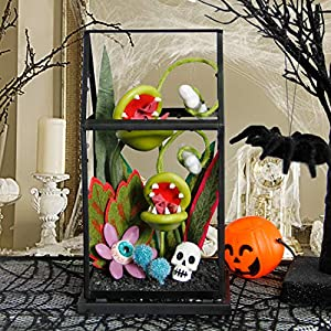 joliyoou halloween decoration, house shaped artificial flower ornament for halloween decor, halloween crafts flowers for dining table green corpse flower silk flower arrangements