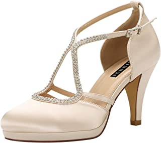 Women Comfort Low Heel Closed-Toe Ankle Strap Platform Satin Bridal Wedding Shoes