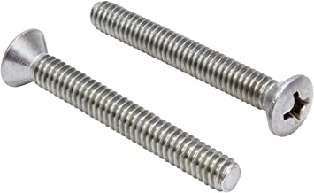 1/4''-20 X 2'' Stainless Phillips Oval Head Machine Screw, (25 pc), 18-8 (304) Stainless Steel, by Bolt Dropper