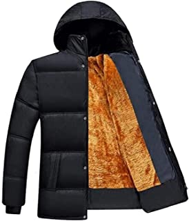 KYC-Bilcesa Mens Hooded Winter Faux Fur Lined Warm Down Quilted Jacket Parka Coat Outerwear