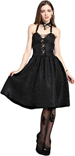 d821e88cebf Robe Noire à Bretelles Dos Nu Lolita Gothique Vampire Victorien
