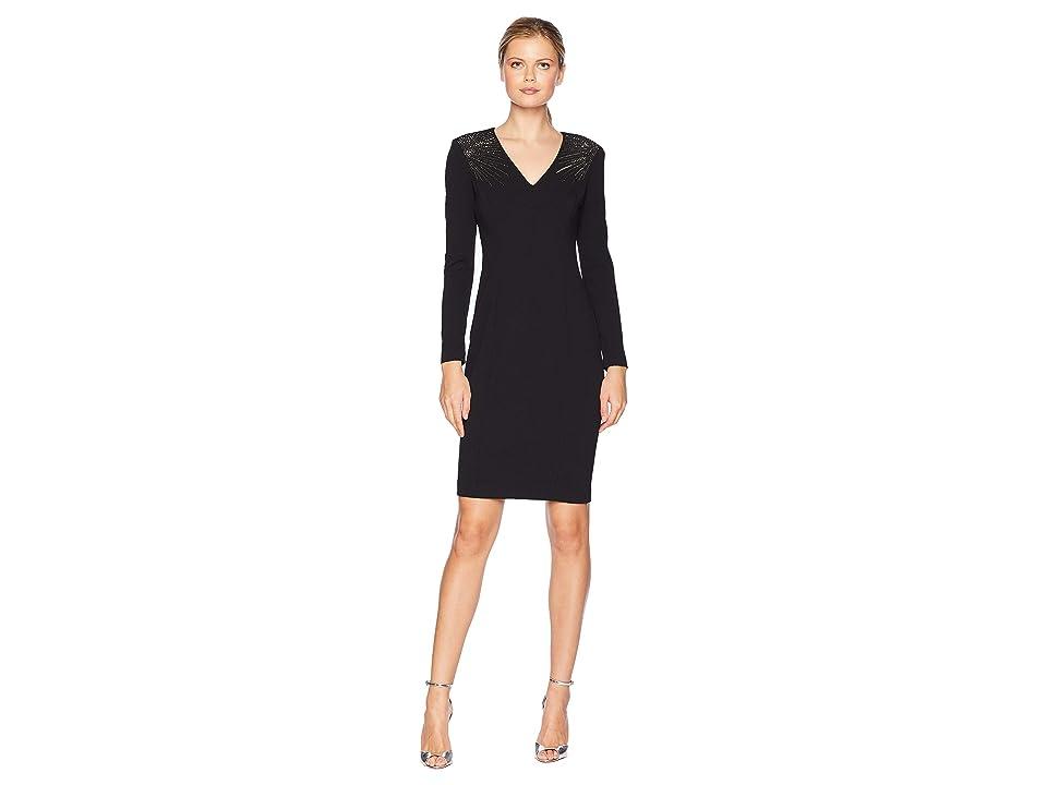 Calvin Klein V-Neck Long Sleeve Sheath Dress w/ Embellished Shoulders (Black) Women