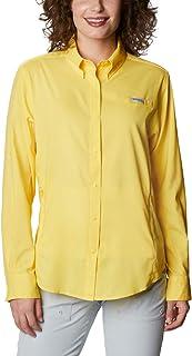Columbia Women's PFG Tamiami II Long Sleeve Shirt, UV Sun Protection, Moisture Wicking Fabric, Sun Glow, XX-Large