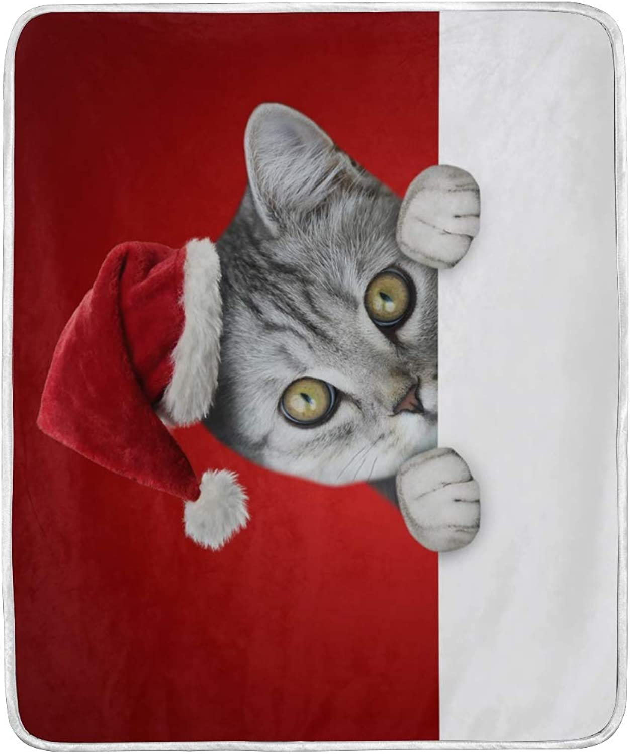 Vantaso Blankets Cute Grey Cat Xmas Hat Throws Soft Kids Girls Boys 50x60 inch