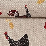 Dekostoff Emilia Leinenoptik, Hühner, Blumen, beige/rot