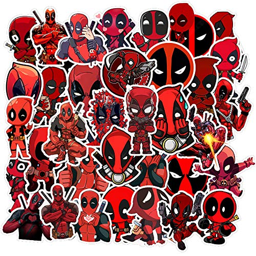 35 Pcs Aesthetic Stickers for Deadpool,Funny Stickers for Water Bottle Laptop Skateboard Luggage Flask Computer Car Phone,Cute Cool Trendy Vinly Waterproof Stickers for Teens Boys Kids Girl Adults.