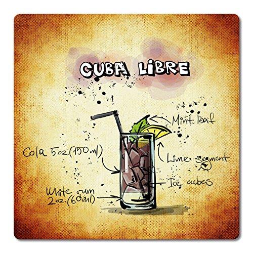 """ADDIES Glas-Untersetzer 6-TLG.Set """"Cocktail"""" in hochwertiger Klarsicht-Geschenkbox und Korkrückseite, eckig, Motiv-Cuba Libre-3"""