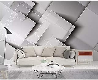 Feisenbz Geometric Gradient Square Wallpaper Threedimensional Gray Bedroom Tv Background Wall Decoration 3D Wallpaper-200X140Cm