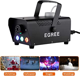 EGREE Fog Machine with Controllable lights - 500W Professional DJ LED Smoke Machine 3 Color Lights with Wireless Remote Control 2000 CFM Huge Fog Capacity for Halloween Holidays Parties - Metal Black
