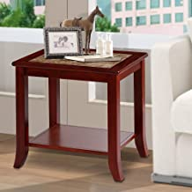 PrimaSleep 22 H Natural Marble Top & Solid Wood Base, Coffee Side End Sofa Table, Light Brown