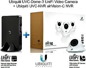 Ubiquiti UVC-Dome-3 UniFi Video Camera 3-Pack + Ubiquiti UVC-NVR airVision-C NVR