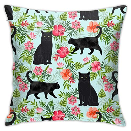 87569dwdsdwd Cat Tropical Palms Hawaiian Print Light Blue Square Pillow Case Home Sofa Decorative 18' X 18'Inch Ultra Soft Comfortable