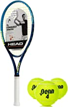 HEAD Ti Conquest Oversized 18x19 NanoTitanium Blue/Yellow Tennis Racquet Kit or Set Bundled with (1) Can of 3 Penn Tennis Balls