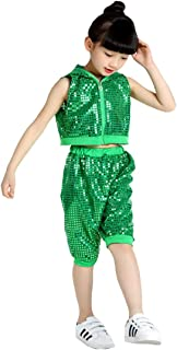 13b362f31ba6 LOLANTA Girls Sleeveless Sequins Jazz Hip Hop Costume Sparkle Street Dance  Outfit
