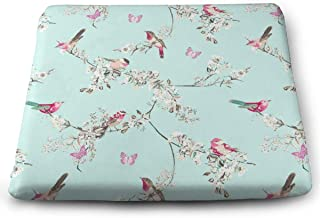 IEIKKD Beautiful Birds Duck Egg Seat Cushion Pads Memory Foam Chair Pad Reversible Square Seat Cover Delicate Printing