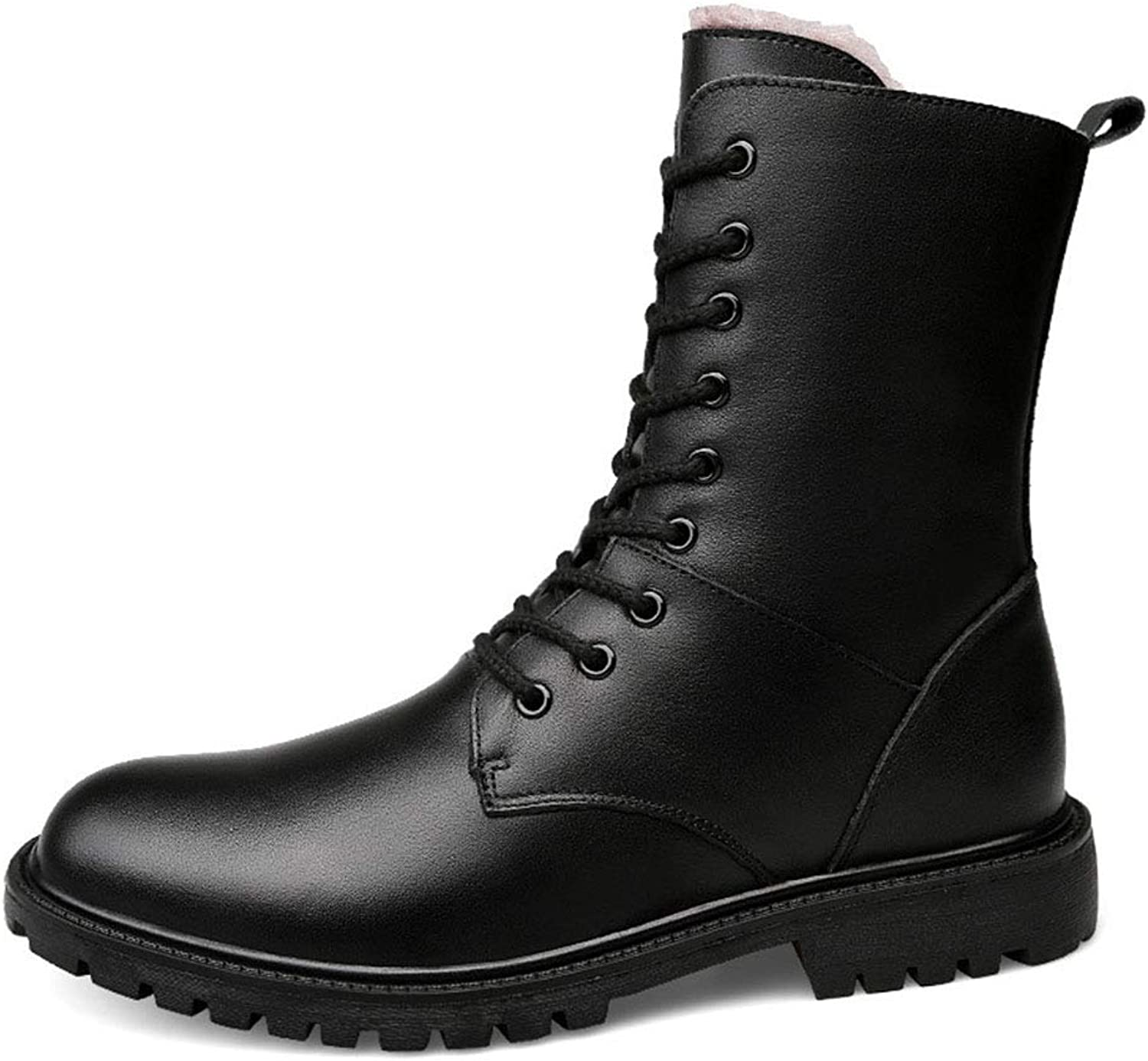 Men's Booties Fall Winter New Martin Boots Keep WarmPlus Velvet Outdoor Motorcycle Boots Casual Comfortable Ankle Boots (color   Black, Size   38)