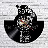 A/NI愛良い音楽ゴリラ聞く音楽ヘッドセットアート装飾壁時計ヴィンテージビニールレコード壁時計家の装飾
