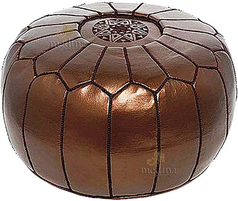 autorización oficial PUF Puf de Diseño, Diseño, Diseño, de Cuero marroquí marrón metálico Totalmente Hecho a Mano - Lleno de  grandes ahorros