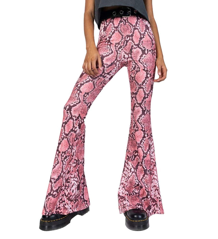 女性ハイウエスト蛇パターンベルボトムパンツファッションストレッチワイドレッグパンツ