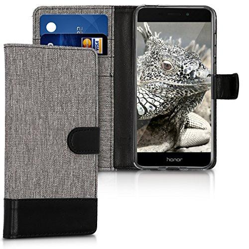 kwmobile Custodia Compatibile con Honor 6C PRO - Cover a Portafoglio Porta Carte Tessuto Simil Pelle Stand - Case Custodia Magnetica