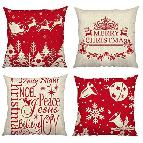 Bonhause Christmas Cushion Covers 18 x 18 Inch Set of 4 Santa Sleigh Reindeer Snowflake Decorative Throw Pillow Covers Cotton Linen Pillowcases for Sofa Couch Car Bedroom Home Décor, 45cm x 45cm