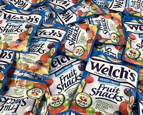 LaetaFood Welch's Fruit Snacks Mixed Gummy Fat Free, Gluten Free Candy, Snacks Size Pouch (Pack of 80)