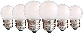 Bombilla LED con forma de golf, 1.5W G40 Mini bombilla LED de globo E27 Base de tornillo Bombilla de repuesto de luz de cadena para exteriores Blanco cálido 2700K, juego de 6
