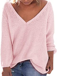 Women's Fall Winter Loose Long Sleeves Deep-V Neck Knitwear Sweater Pullover Blouse