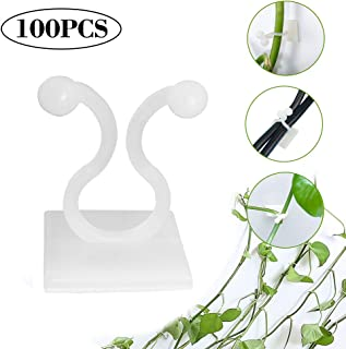 FYTX100PCS White Plant Clips Sticky Clips,Wall Plant Holder, Climbing Plant Wall Clips,Indoor Plant Hook,Used to Fix The Wall or Indoor Vines Plants and Climbing Plants.(B-100Pcs)