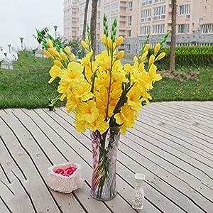 joyMerit Artificial Gladioli Spray Stem Fake Silk Tropical Flowers Gladiolus Decor – Pick – Yellow, 80cm
