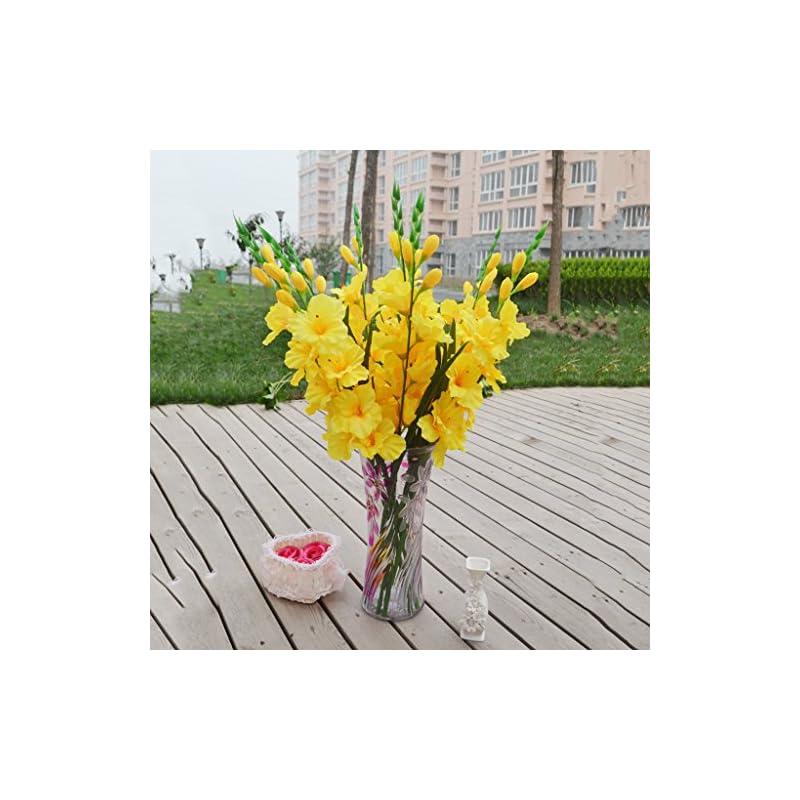 silk flower arrangements joymerit artificial gladioli spray stem fake silk tropical flowers gladiolus decor - pick - yellow, 80cm
