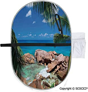 SCOCICI Waterproof Washable Baby Diaper Changing Pad Mat Idyllic Coast Island Palm Leaves Paradise Clouds Relax Calm Photo Portable and Foldable Infant Large Nappy Mat 20x27 inch