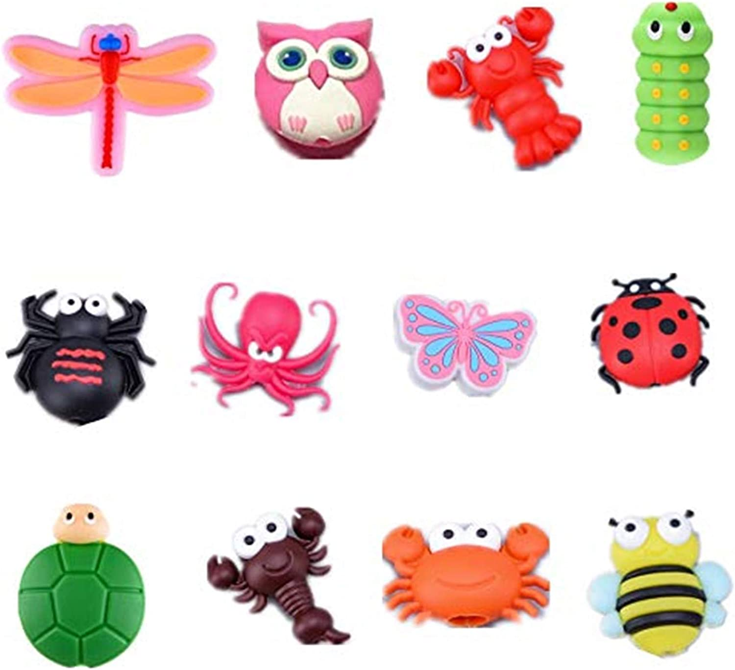 12 Pcs Charger Cable Protectors for iPhone//iPad//iwatch//Earphone Cute Cartoon Animal USB Charging Cable Saver Phone Accessory