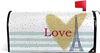 Jiayangzi Heart Eiffel Tower Mailbox Covers Magnetic Garden Decorations Outdoor Mailbox Cover Seasonal Mailbox Wraps Post Letter Box Cover Large Size 20.7x18.03 inch