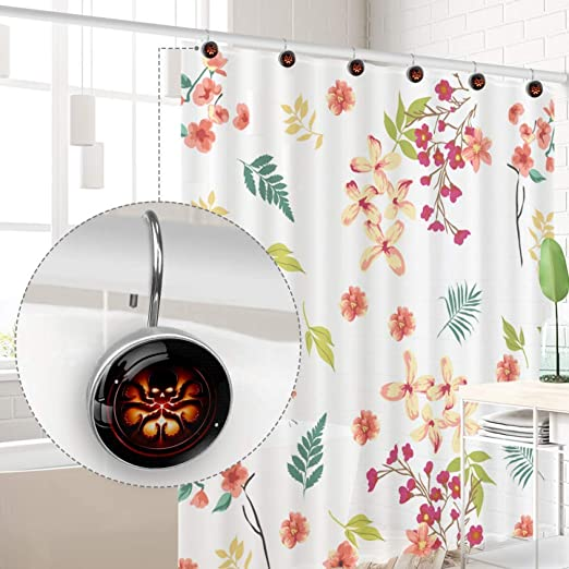 Bathroom Curtain Hooks Skull Octopus Art Shower Curtain Rings Shower Curtain Hooks for Drapes Set of 12 3.7x3.7cm