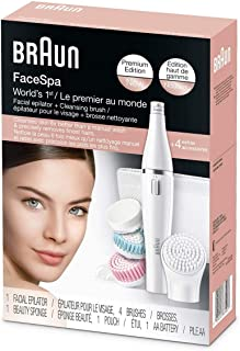 Braun Face 851 Beauty Edition - facial cleansing brush with micro-oscillations & facial epilator - including 3 facial cleansing brushes and beauty pouch