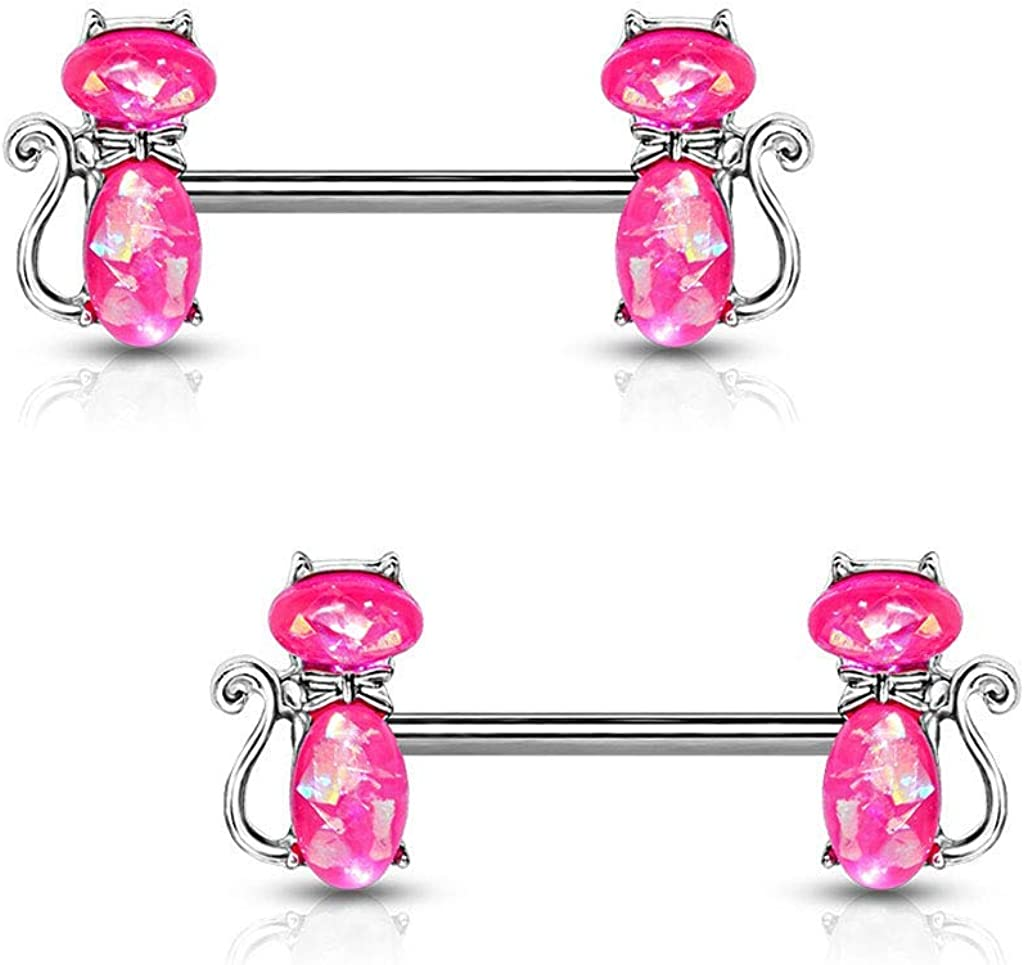 Covet Jewelry Opal Glitter Set Cats 316L Surgical Steel Barbell Nipple Rings