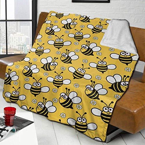 Plüsch Decke Kawaii Baby Bee Polar térmico Teppich Wohnzimmer Tagesdecken für Männer Weiche Schlafmatte Pad Flanell für den Herbst