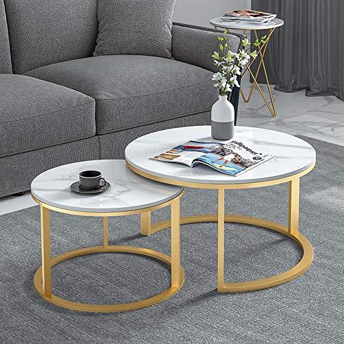 Juego de mesa de centro redonda de mármol, mesa de esquina pequeña con estante móvil de hierro forjado, muy adecuada para terraza, jardín o interior, se puede utilizar como mesa de lectura/A /