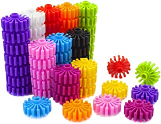 RAINBOW TOYFROG Gears Interlocking Building Set,Manipulatives Building Kit with Tote 120 Pcs - Occupational Therapy - 10 C...