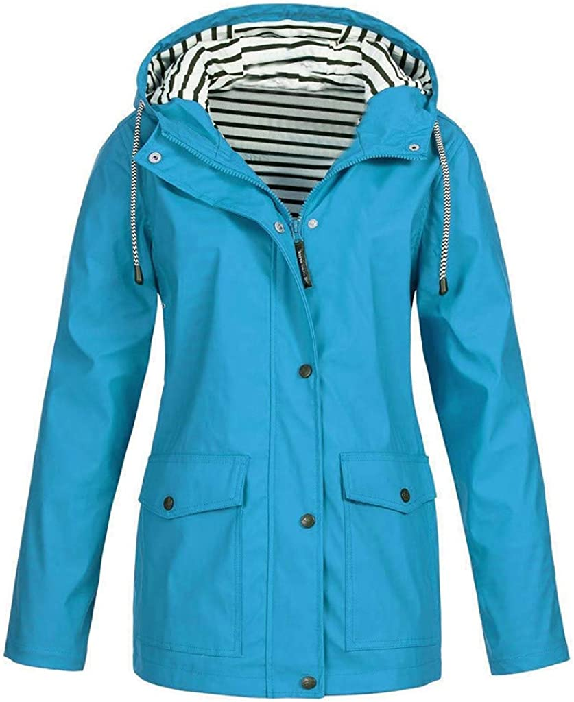 TWGONE Hooded Jacket Women Fall Solid Rain Jacket Outdoor Raincoat Windproof