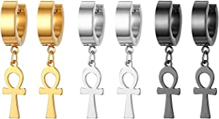 3 Pairs Stainless Steel Piercing Huggie Hoop Egyptian,Tassel Cross Dangle Earring for Mens Womens Teens,Hypoallergenic,Silver,Gold,Black