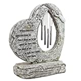 Meiyaa Gedenkstein für Haustiere, herzförmig, personalisierbar, handbedruckt, mit Windspiel und Trauergedicht für Hund oder Katze, Haustierverlust